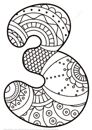 Small Picture Number 3 Zentangle coloring page Free Printable Coloring Pages