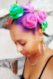 unicorn inspired bantu knots using glow in the dark synthetic hair by ashley brown pro stylist
