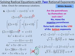 solving radical equations with two rational exponents solve
