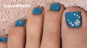 Fast & Easy Blue Toe Nail Art - YouTube