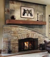 rustic autumn pine fireplace mantel