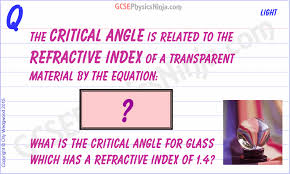 critical angle and refractive index equation flashcard