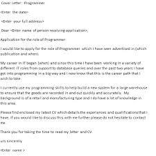 Programmer Cover Letter Example Icover Org Uk