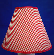 image of red checked chandelier shades