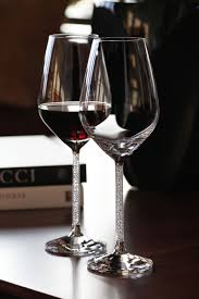 swarovski crystalline red wine glasses pair swarovski crystal stemware