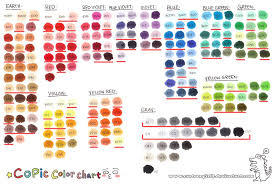Copic Color Blending Chart Copics True Colors In Blending Families Copic Color Chart
