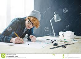 Young Architect House Designer Young Architect Working On House Project Stock Photo Image