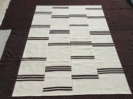 brooken stripe black and white turkish kilim rug 7 9 x9 11 feet 237x302 cm