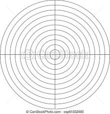 Polar Grid Of 10 Concentric Circles And 90 Degrees Steps Blank Vector Polar Graph Paper