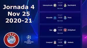 UEFA Champions League - Calendario de la Jornada 4, 2020-21 - YouTube