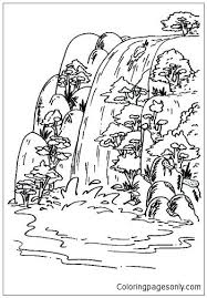 Waterfall Coloring Page Coloring Page Waterfall Nature 5 Printable