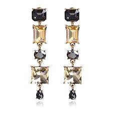 unicra vintage champagne crystal earring studs wedding bridal chandelier long dangle earrings for women and girls