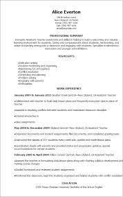 Sample Resume For Assistant Teacher Preschool Teacher Cv Examples