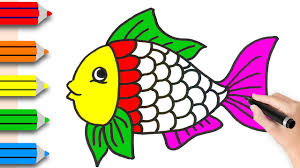 fish drawing for colouring. Perfect Drawing How To Drawing Fish U0026 Coloring Pages For Kids  Learning Videos  Children To For Colouring O