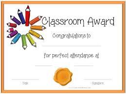 Attendance Award Template Certificate Template For Kids Perfect Attendance Award