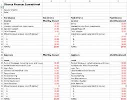 expenses breakdown template divorce finances spreadsheet