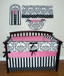 black and pink crib bedding zebra isabella hot white collection damask