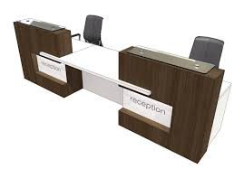 2 person straight reception desk with 2 upstands on the sides