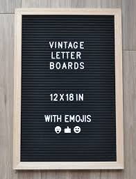 Vintage Changeable Letter Board Oak Wood Frame 12x18 Inches Black Felt With 340 Letters Emojis Characters Bonus Suede Letter Bag Wall Mount