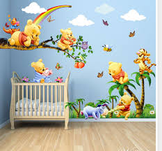 image of baby winnie the pooh nursery wall decals
