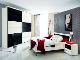 captivating modern small bedroom design with lovely white side table idea and unique wall theme design