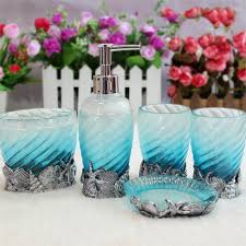 blue glass bathroom accessories. Bathroom: Appealing 5 Piece Sea Blue Glass Bathroom Accessories Ideas - Pink And A