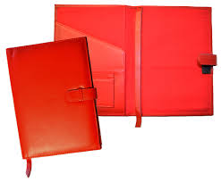 leather writing journals red