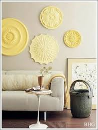 Ceiling medallions used for wall decor. Readily available at your local  home improvement store. These ceiling decorations are very lightweight and  easy to ...