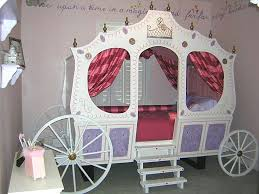 Bedroom:Little Girl Bedroom With White And Gold Princess Carriage Bed On  Brown Wood Floor