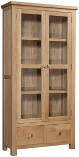 varnished wood display cabinets come with double swing glass display cabinets door