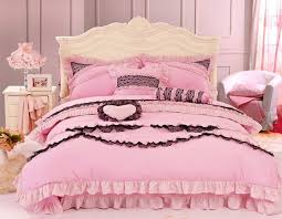black and pink princess bowtie ruffled girls lace bedding