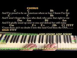 God Bless America Chord Chart God Bless The Usa Lee Greenwood Piano Chord Chart