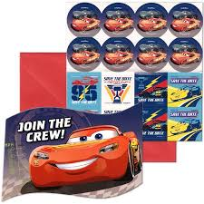 Lightning Mcqueen Birthday Party Disney Pixar Cars Lightning Birthday Party Invitation 16 Count Save The Date Stickers