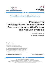 The Stage Gate Idea To Launch Process