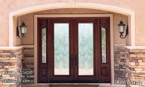 double exterior glass doors sandblasted contemporary style rain glass patterned rustic design
