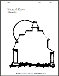 Small Picture Haunted House Coloring Page Student Handouts