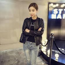 2016 autumn clothing new style korean style loose slimming long sleeve leather jacket fashion leisure short