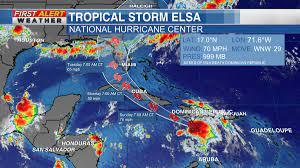 Elsa downgraded to tropical storm ...