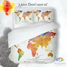 um image for college covers bedding college dorm bedding duvet covers watercolor world map bedding watercolor