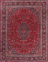9 6 x 12 6 hand knotted semi antique red persian mashad oriental area rug 12980462
