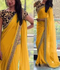 Simple Saree With Heavy Designer Blouse Georgette Border Work Yellow Plain Saree 808c Saree