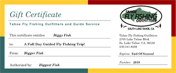 Certificates To Make Gift Certificate Tahoe Fly Fishing Outfitters