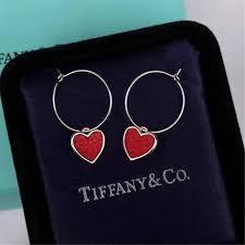 tiffany drop earrings loving heart charm red leather double sided wear uk lady