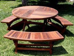 outdoor round wooden picnic tables with