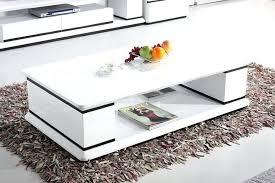 high gloss coffee table white led