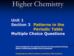 Higher Chemistry Unit 1 Section 3 Patterns in the Periodic Table ...