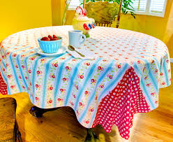 Round Kitchen Table Cloth Retro Fun Reversible Breakfast Tablecloth Sew4home
