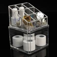 plastic makeup organizer put bathroom: crystal make up cosmetic container storage case box container acrylic bathroom organizer jewelry makeup organizer case