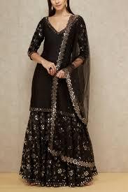 Black Sharara Designs Black Embellished Sharara Set Abhinav Mishra Designers