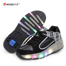 Air Balance Light Up Shoes 2018 Luminous Sneakers Wheels Shoes For Kids Shoes For Boys Girls Light Up With Wheel Casual Kids Children Glowing Sneakers